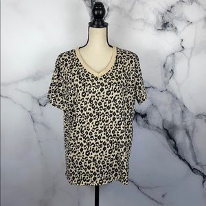 BLOOMING JELLY leopard print v neck t shirt XL
